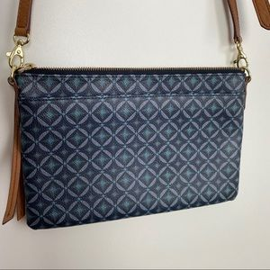 FOSSIL Blue Sydney Top Zip Crossbody Bag Diamond